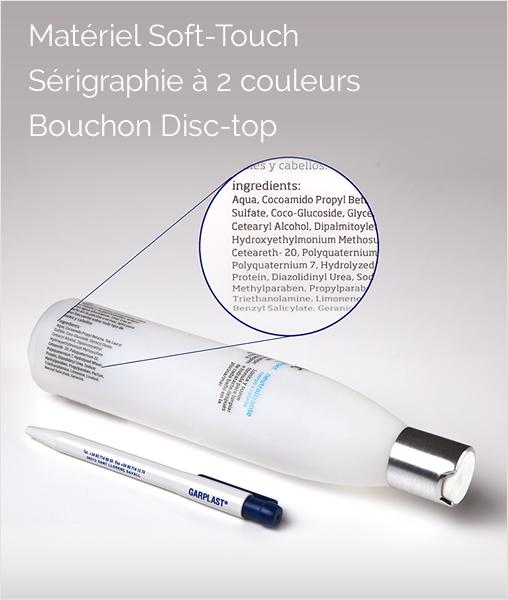 Matériel Soft - Touch, sérigraphie a 2 couleurs, bouchon disc - top